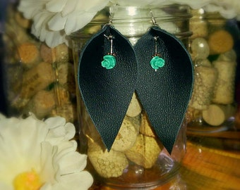 Black leather leaf earring with teal rose charm
