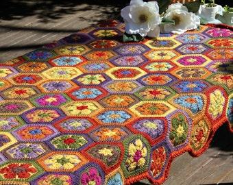 Crochet afghan, crochet blanket, crochet african flowers, crochet throw, Multicolour crochet blanket