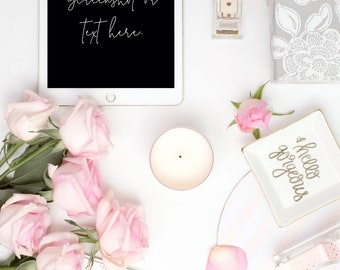 Portrait Styled Stock Photography | iPad Mockup | Roses with Pink and White Desk Accessories  2 | Styled Photography | Digital Image