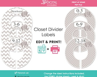 DIY editable printable baby or child closet dividers PDF gray elephant Digital File (No.41)
