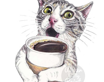 Shocked Tabby Cat Fine Art Print - Ballpoint pen and Coloured Pencil, Archival Print, Cute Cat Art, Coffee Lover Gift, Take Out Coffee