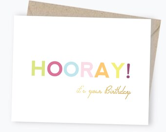 Hooray It's Your Birthday Card - Gold Foil - Happy Birthday