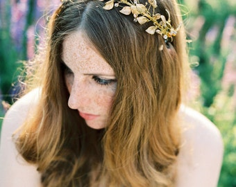 Golden bridal crown, wreath, hair accessory with mix of beautiful beads
