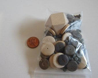 Large Wood Beads, Mixed Lot Wood Beads, 4mm to 38mm wood beads, Destash Beads