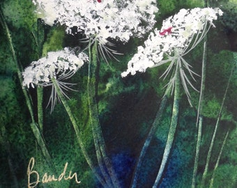 Original watercolor painting, Flowers, Matted, 5 x 7, garden art, wild flowers, summer, Queen Anne's Lace, gift, floral, small, unframed