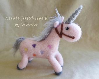 Unicorn OOAK handmade Needle felted wool pink
