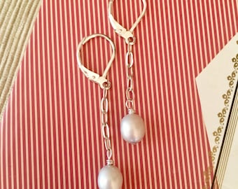Go with everything, simple and classic gray freshwater pearls suspended from sterling silver chain on sterling silver lever backs