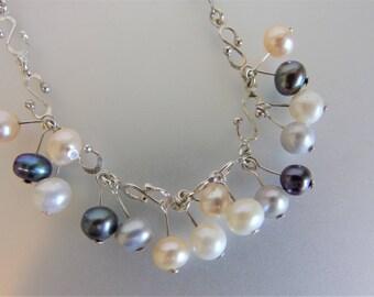 Vintage Sterling Silver Tri Color Fresh Water Pearl Bracelet