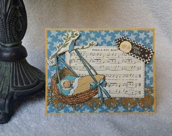 Rock a Bye Baby in blue ~ Baby Card
