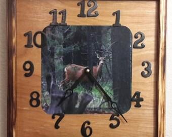 Handcrafted Deer Clock