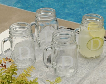 Personalized Mason Jar Set - Mason Jars - Monogram Jar Glasses