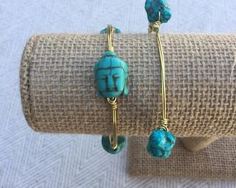 Turquoise Buddha Wire-Wrapped Bangle Bracelet