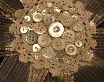 Mother of Pearl Button Doily Ribbon Brooch