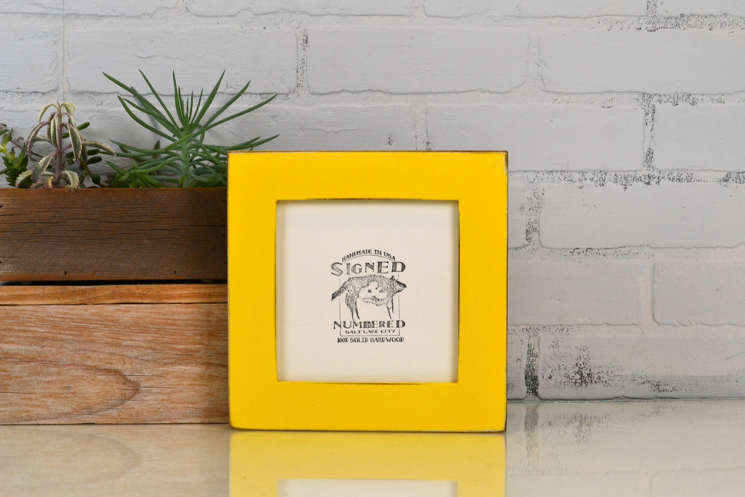 6x6 Square Frame in 1.5 inch standard style with Vintage Yellow ...