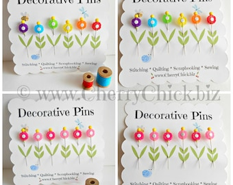 Decorative Sewing Pins - Rainbow Flower Sewing Pins - Sewing Pins - Scrapbooking Pins - Push Pins - Bulletin Board Pin - Gift for Quilters
