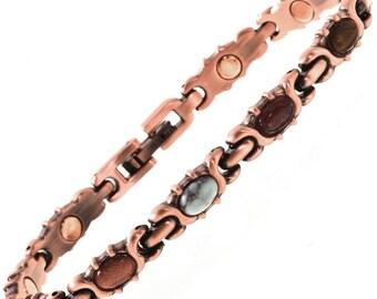 Turquoise Agate Copper Tennis Bracelet Magentic Ladies Links