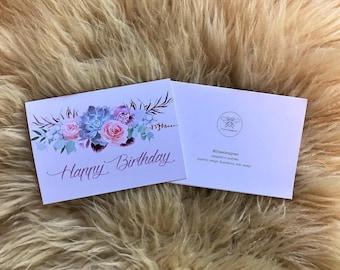 Happy Birthday Pastel Soft Flower Banner Card