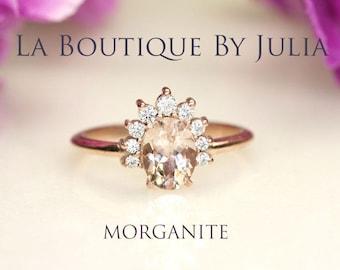 Morganite Engagement ring for Women.Diamond Halo Morganite Ring.14K Solid Gold Diamond nest Engagement ring.Dainty Crown Engagement ring