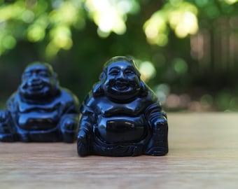 Black Agate Buddha (one) || 75gm || 45mm x 45mm x 25mm