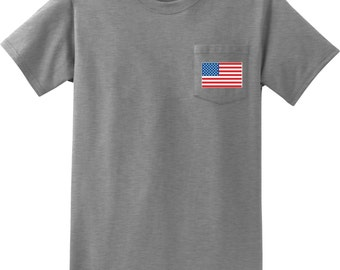 US Flag Pocket Print Mens Pocket Tee T-Shirt 3991-PC61P