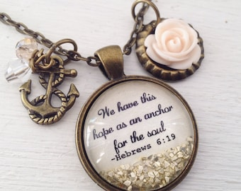 Bible verse necklace/Hebrews 6:19/Christian jewelry/We have this hope as an anchor for the soul/scripture jewelry/Christian gifts