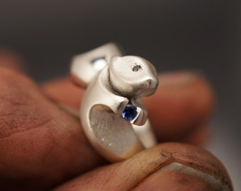 Sea otter,  silver, pick your gemstones