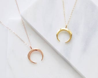 Horn Necklace | Double Horn Necklace | Gold, Rose Gold | Gold Crescent Necklace | Boho Horn Necklace | Upside Down Moon Necklace