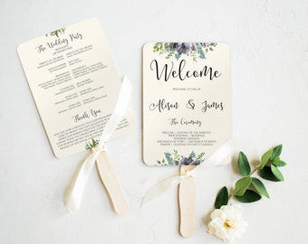 Wedding Template, DIY Printable Wedding Program Template, Succulents Wedding, Wedding Program Template, Wedding Fan Program, Editable, 0028