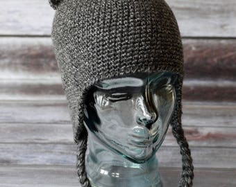 100% Acrylic Cat Hat With Earflaps - Crochet - Women/Teen/Girls/Adult