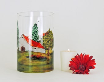Hand painted vase  or candle-holder - Village Provencal collection