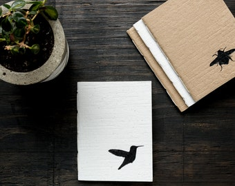 Small Handcrafted Softcover Notebook, Handmade Recycled Paper Cover, Hand Painted Hummingbird Design, Lined Recycled Paper, Eco Friendly