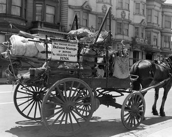 "1942 Junk Wagon, San Francisco, California Vintage Photograph 8.5"" x 11"""