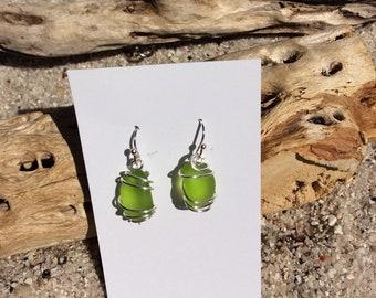 Seaglass Earrings citrus green