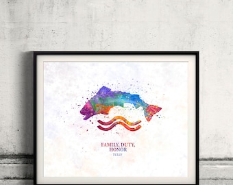 Game of thrones Tully Fine Art Print Glicee  Poster Watercolor Children's Illustration Wall - SKU 2787