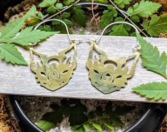 Metal bat earrings