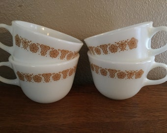 Set of Four Butterfly Gold Pyrex Coffee Cups SO CUTE!