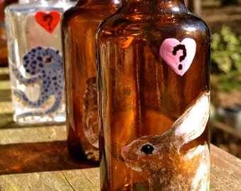 "Hand Painted Glass: Tiny ""Do You Love Me"" Bunny Bud Vase"