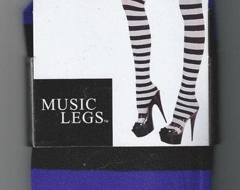 MUSIC LEGS STRIPES Thigh Hi Stockings High Trouser Sock Hosiery Halloween