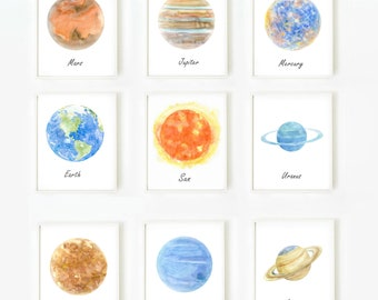 Space art, Solar System Print, Planet prints, Astronomy Art, Set of Prints, Children Art, Space poster, Outer space Art