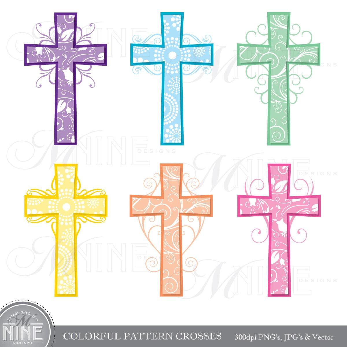 cross clip art colorful pattern crosses clipart vector art rh etsy com crosses clip art images funeral crosses clipart