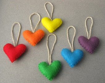 10 Felt Heart Valentine Ornaments Eco-Friendly Recycled Felt , You choose colors OlyTeam