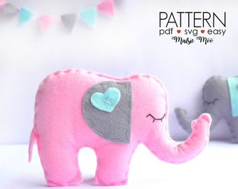 Felt Pattern Elephant Ornament Pattern Felt Elephant Pattern SVG Elephant Baby Shower Animal Pattern Garland PDF Tutorial