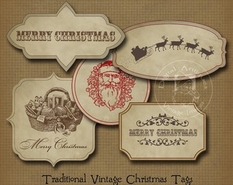 Vintage Christmas Gift Tags Sepia Printable Digital Download