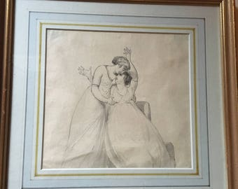 Classical Pencil and Ink Original Drawing of Two women, Neo-classical, Greek, Antique, l800's, Framed