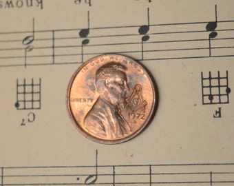 Lincoln Cent Penny With Masonic Counterstrike - Free Mason Compass - Many 1960, 1970, 1980, 1990s dates available
