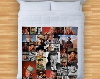 John Wayne Colourful Montage Design Soft Fleece Blanket Cover Throw Over Sofa Bed Blanket