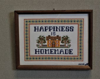 Happiness is Homemade Finished and Framed Cross Stitch