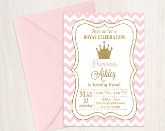 Princess Birthday Invitation, Princess Invitation, Pink and Gold Birthday, Princess Birthday, Girl Birthday, Princess Party
