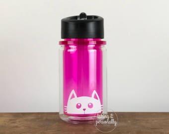 cat water bottle, 10 oz. cat lover water bottle, cat peeking bottle