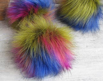 3 Faux Fur Pom Pom, Colorful Fur Ball, Rainbow Pompon fourrure